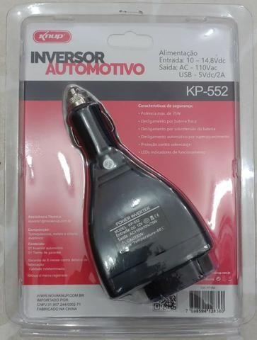 Inversor Automotivo Knup 75w Conversor 12v p/ 110v Kp552 (Novo) - Foto 5