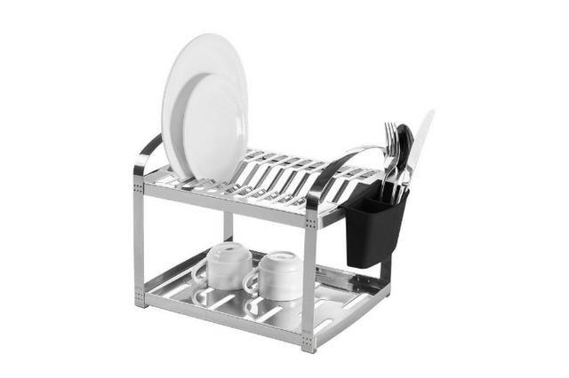 Escorredor Aço Inox 12 Pratos com Escorredor de Talheres Plástico - Suprema - Brinox - Foto 2