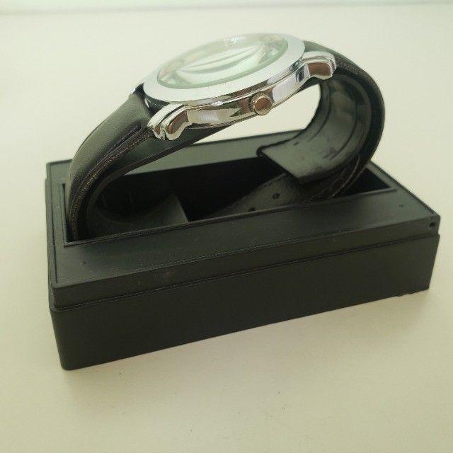 Relógio Analógico Quartz Prata Pulseira Preta - Foto 6