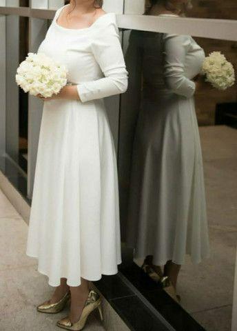 Vestido de noiva perolado finíssimo de grife novo! - Foto 2