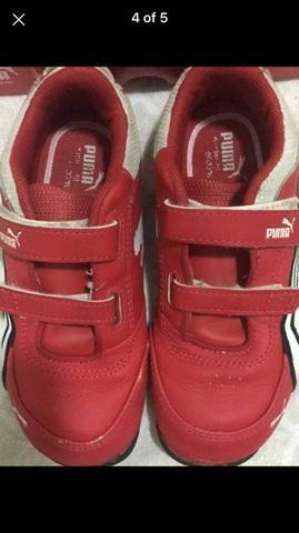 a54b753144 Tênis infantil puma ferrari menino 27 velcro couro macio vermelho palmilha  16,5 cm