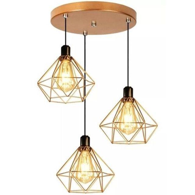 Pendente Aramado Diamante Triplo + Lâmpada LED Retrô - Foto 2
