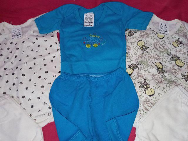 Combo kit 3 conjuntos de body e short bebê - Foto 2