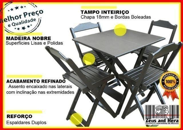 Conjunto Mesa Bar Restaurante Lanchonete Dobrável 70x70 Com 4 Cadeiras em Madeira Nobre