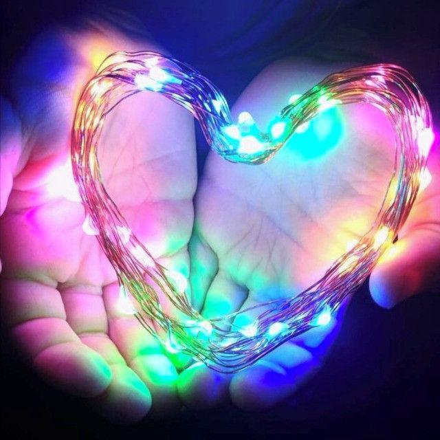 7888 - Fio Fada Cordão Luz Led Cores Natal 5m 100 Leds Pilha - Foto 4
