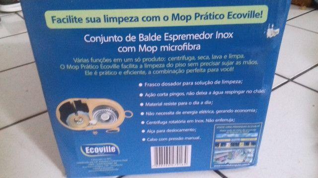 Mop prático 360° conjunto de balde espremedor inox - Foto 3