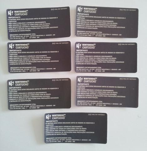 Label traseira para cartucho de nintendo 64