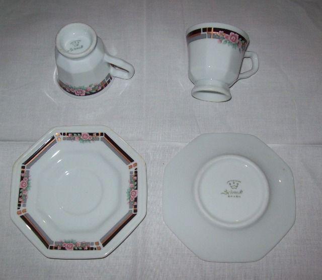 Jogo de café em porcelana Schmidt para 6 pessoas - octogonal - Foto 6