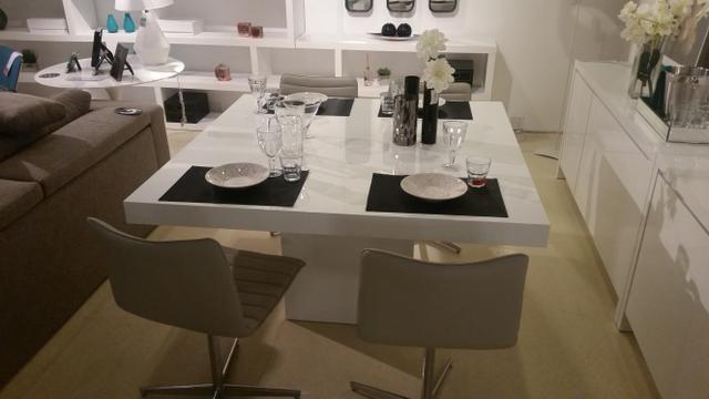Mesa Jantar Quadrada Em Mdf Branco Brilho Laca 120x120 - Foto 6