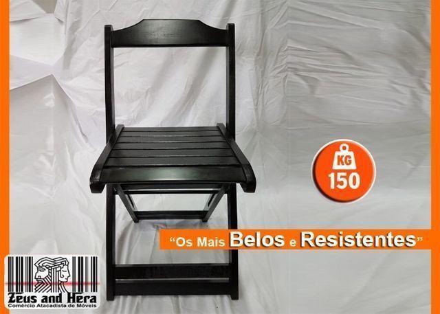 Conjunto Mesa Bar Restaurante Lanchonete Dobrável 70x70 Com 4 Cadeiras em Madeira Nobre - Foto 2