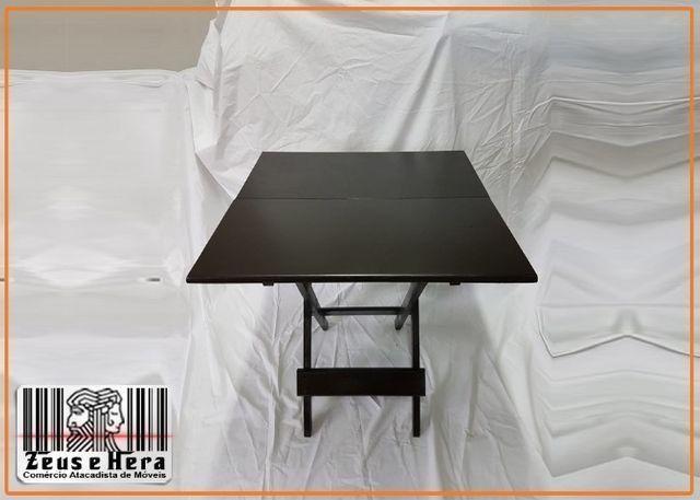 Conjunto Mesa Bar Restaurante Lanchonete Dobrável 70x70 Com 4 Cadeiras em Madeira Nobre - Foto 4