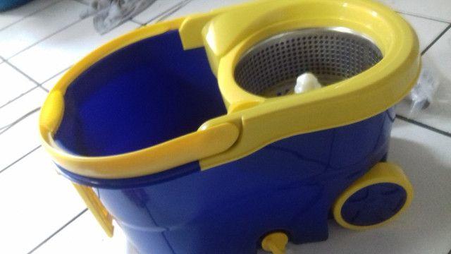 Mop prático 360° conjunto de balde espremedor inox - Foto 5