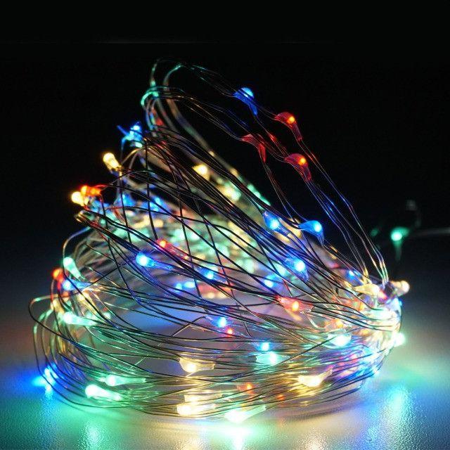 7888 - Fio Fada Cordão Luz Led Cores Natal 5m 100 Leds Pilha