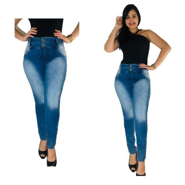 Kit 3 Calças Jeans Femininas com lycra - Frete grátis para SP - Foto 3