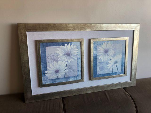 Quadro vintage flores brancas