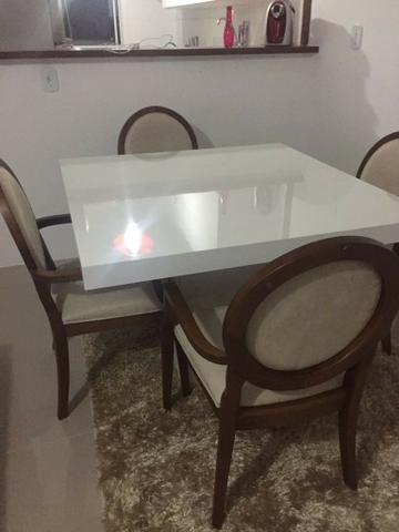 Mesa Jantar Quadrada Em Mdf Branco Brilho Laca 120x120 - Foto 3