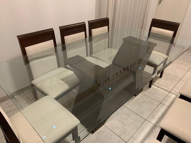 Conjunto de Mesa e Cadeiras, para sala de jantar, 8 lugares, Venus Castanho Nobre - Foto 3