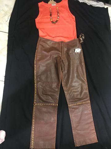 Calça de couro +os acessórios veste 42/44 - Foto 6