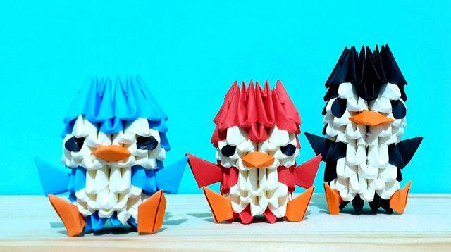 3x Origami De Pinguim. Duas Peças Mais Uma Grátis! - Foto 2