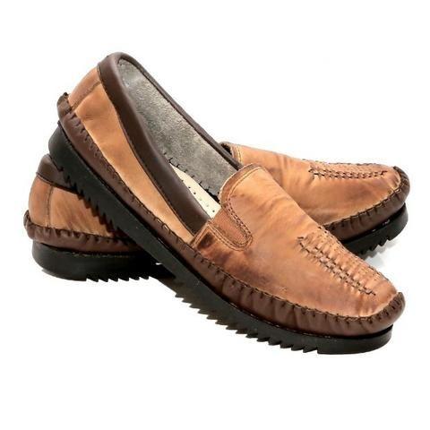 Sapato mocassim masculino em couro legitimo