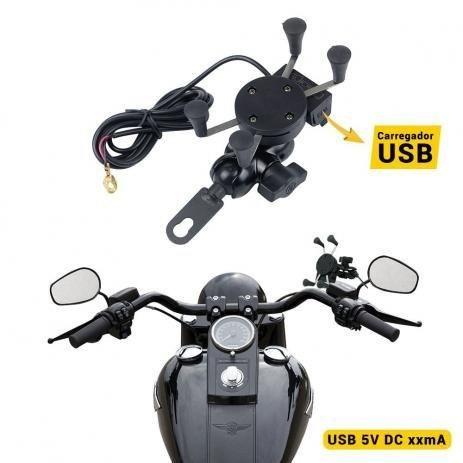 Suporte Garra Universal de Celular para Moto com carregador USB