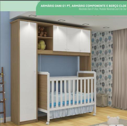 Quarto De Bebê Armário E Módulo Dani Berço Cloe Novo Shopmix Móveis