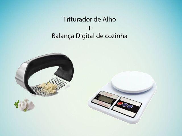 Kit Triturador de alho Inox + Balança De Cozinha Digital Até 10kg