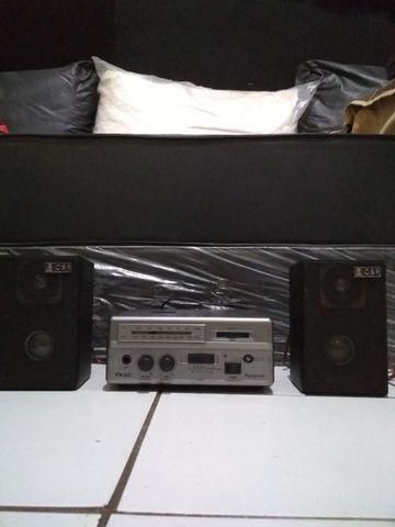 Receiver (Amplificador e Rádio) de 80 W Rms ou 8.000 Pmpo com duas caixas de som CSR