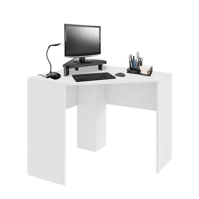 Mesa de Canto para Computador 90x90cm Branco Fosco