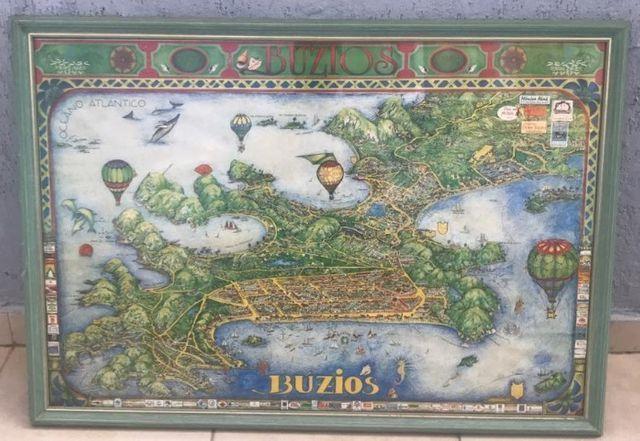 Quadro antigo com o mapa da regiao de buzios