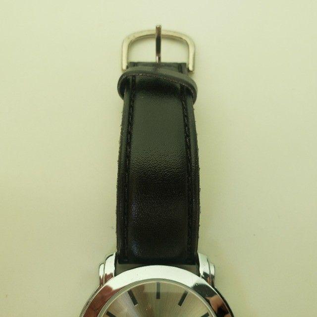 Relógio Analógico Quartz Prata Pulseira Preta - Foto 5