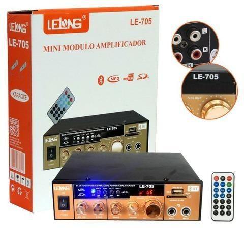 Mini Amplificador de Som Bluetooth Karaoke Le-705 Lelong 110v Usb Cartão Mp3 Fm 2 Canais