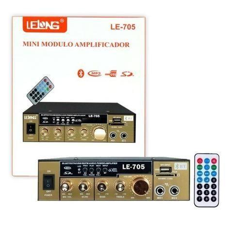 Mini Amplificador de Som Bluetooth Karaoke Le-705 Lelong 110v Usb Cartão Mp3 Fm 2 Canais - Foto 2