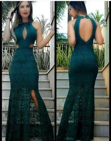 Vestido verde petroleo longo