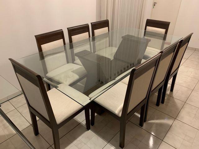 Conjunto de Mesa e Cadeiras, para sala de jantar, 8 lugares, Venus Castanho Nobre
