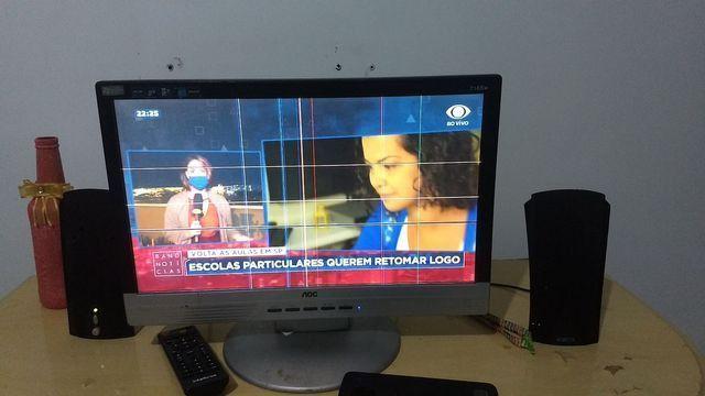 Tv/Monitor 17 polegadas lcd + receptor Intelbras+ caixinhas de som+ conversor