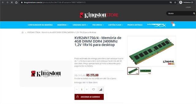 Memória de 4GB DR4 Kingston Para Desktop - Foto 3