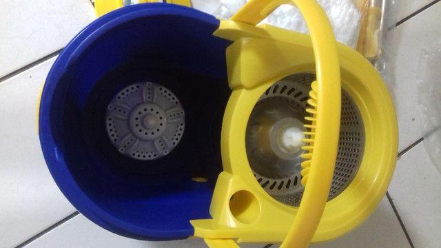 Mop prático 360° conjunto de balde espremedor inox - Foto 6