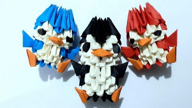 3x Origami De Pinguim. Duas Peças Mais Uma Grátis!
