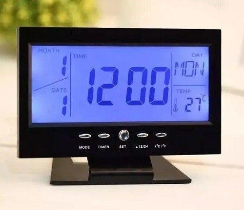 Relógio De Mesa Digital Despertador Temperatura Preto