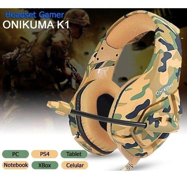 Headset Gamer Onikuma K1-B Camouflado  Ps4 Xbox PC- Loja Natan Abreu  - Foto 4