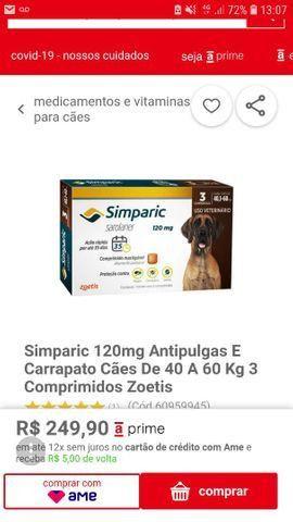 Vendo uma caixa de simparic 120 mg com 3 comprimindo peso 40 a 60 kilo