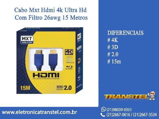 Cabo Mxt Hdmi 4k Ultra Hd Com Filtro 26awg 15 Metros
