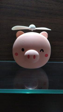 Mini Ventilador Espelho Led Usb Porquinho Rosa Fan-8517