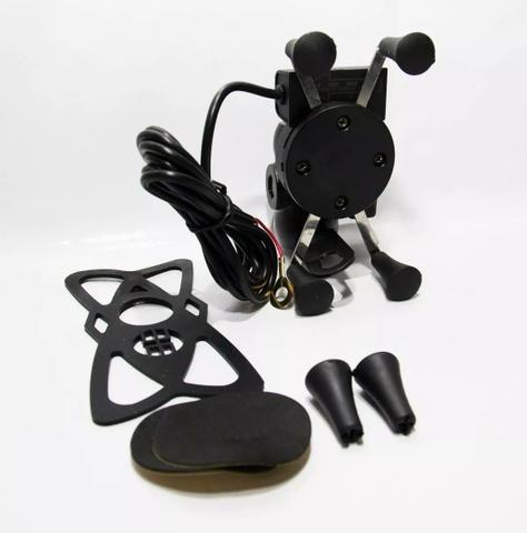 Suporte Garra Universal de Celular para Moto com carregador USB - Foto 3