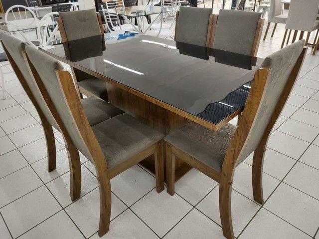 Mesa com 4 Cadeiras 100% MDF. Tampo de vidro - Foto 5