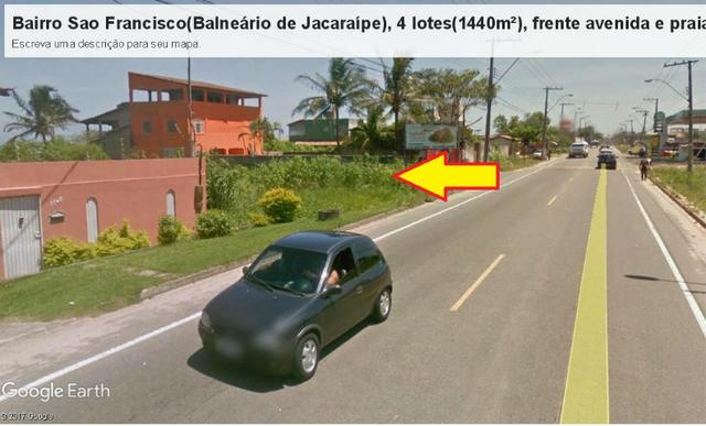 04 Lotes juntos, 360 m² cada, de frente à praia e avenida, no Balneário de Jacaraípe - Foto 6