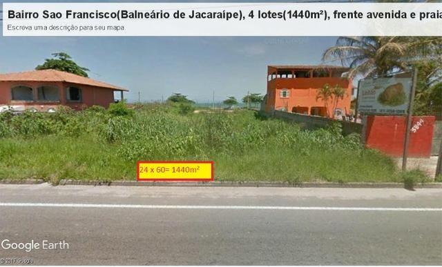 04 Lotes juntos, 360 m² cada, de frente à praia e avenida, no Balneário de Jacaraípe - Foto 3