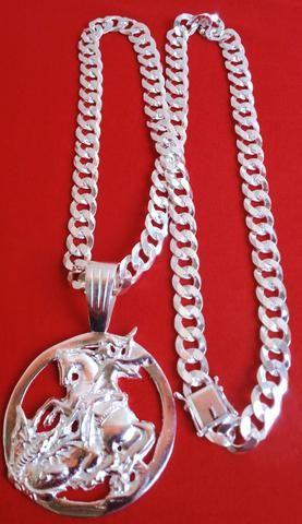 Corrente +são jorge grande 11mm 70cm fecho gaveta prata 925 maciça +brinde