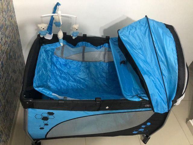 Berço Portátil Balanço com trocador e móbile Azul - Baby Style - Foto 5